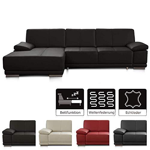 CAVADORE Schlafsofa Corianne mit Longchair links / Ledercouch in modernem Design / Inkl. beidseitiger Armteilverstellung / 282 x 80 x 162 / Echtleder dunkelbraun