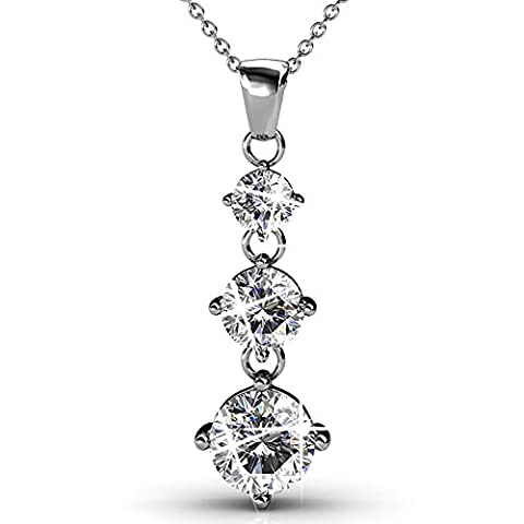FAPPAC Rhodium Plated Three Stones Crystals Pendant Necklace Enriched with Swarovski Crystals