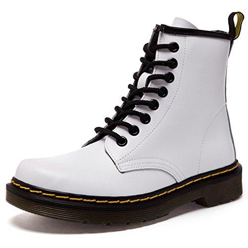 Damen Martin Stiefel Derby Wasserdicht Kurz Stiefeletten Winter Herren Worker Boots Profilsohle Schnürschuhe Schlupfstiefel,Ungefüttert/Weiß 41 EU