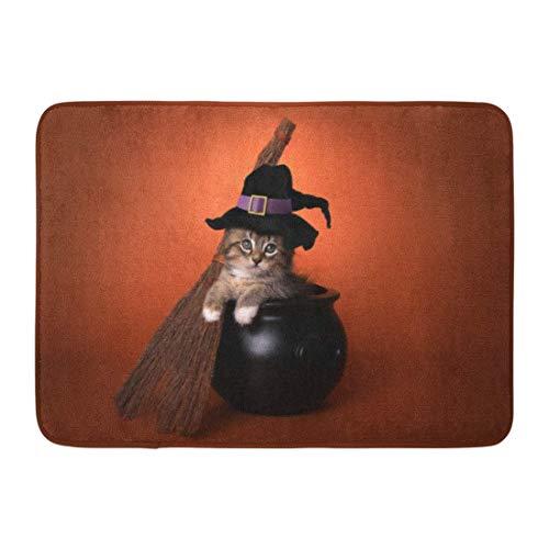 Rongpona Fußmatten Bad Teppiche Outdoor/Indoor Fußmatte Tan Katze Lustige Halloween Hexe Kätzchen Kostüm Kessel Entzückende Tier Badezimmer Dekor Teppich - Perfekte Kätzchen Baby Kostüm