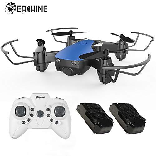 EACHINE E61H Mini Drones para Niños Adultos Principantes Modo de Control de Altitud Modo sin Cabeza 3D Flips Rollos LED Luz Drone Ligero con 2pcs Batería (Azul)