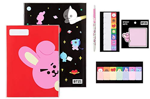 BTS Stationery Sets (Cooky) BTS Notes Sticky Tabs Ball Point Pen Sticky Notes All in One