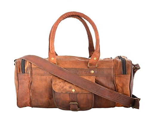 "Best tumi backpack in India 2020 Leather Bag Vintage Brown Genuine Handmade 18"" Inches Square Duffle Bag by Pranjals house Image 5"