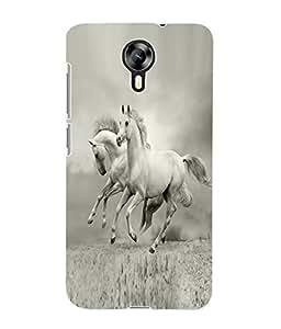 Fuson 3D Printed White Horse Pair Wallpaper Designer Back Case Cover for Micromax Canvas Xpress 2 E313 - D852