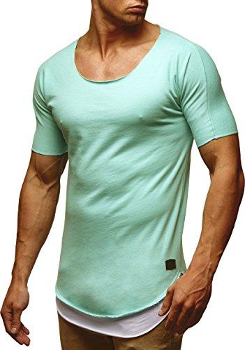 LEIF NELSON Herren T-Shirt Top Tiefer Rundhals Ausschnitt Kurzarm-shirt Basic Crew Neck LN6346 Mint