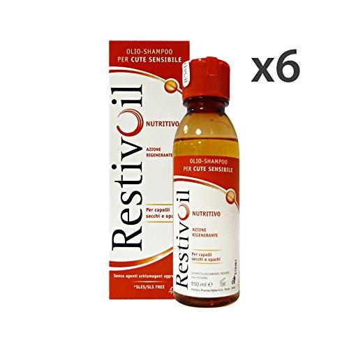 Set 6 RESTIVOIL Shampoo Nutritivo Secchi 150 Ml. Prodotti per capelli