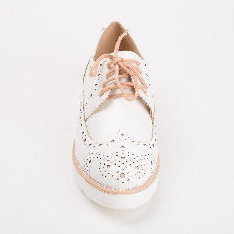 Ideal Shoes - Derbies bicolores Acina Rose