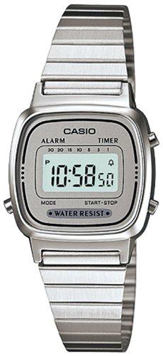Casio Damen Digital mit Edelstahl Armbanduhr LA670WA 7D (Casio Damen-uhr Silber)