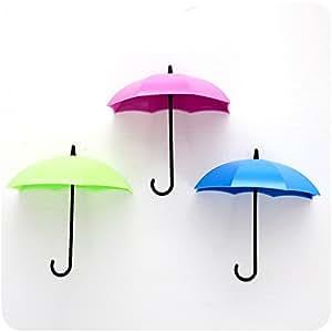 yiuswoy 3 stueck niedlich regenschirm form abnehmbare kunststoff wandhaken kleben speicher. Black Bedroom Furniture Sets. Home Design Ideas