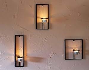 dandibo wandteelichthalter aus metall carre 3 tlg wandkerzenhalter teelichthalter. Black Bedroom Furniture Sets. Home Design Ideas
