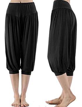 Nuevo!! Mujer Pantalones HaréN,Color SóLido Cintura EláStico PantalóN Moda Casual Slim Pantalones para Deportes...