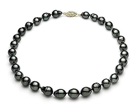 8–11mm Baroque Noir–Collier Femme–Perle de culture de Tahiti de qualité AA + 14K Or jaune