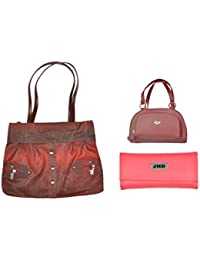 JHD Red Shoulder Bag With 2 Hand Bag Red Set Of 3 Pcs Combo