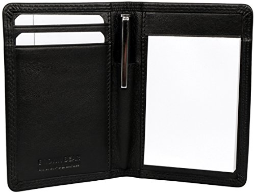 Brown Bear Notizblock Etui Leder schwarz slim, Kuli und Block 109 bk (Kurze Leder Partner)