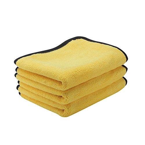 ZYTC Auto Detaillierung Handtücher 30 x 40 cm Ultra Dick Mikrofaser Polieren Waschen Wachsen Trocknen Reinigungstücher Tücher Pack von 3 Gelb -