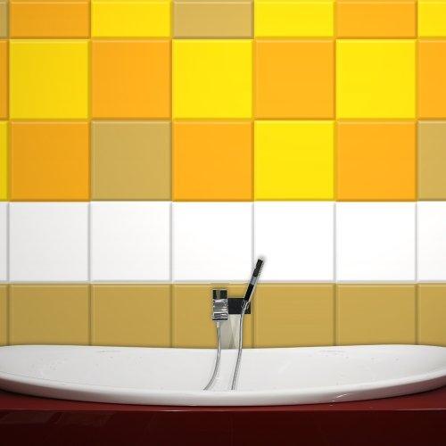 Wandkings Fliesenaufkleber 20 x 20 cm, 50 Stück - SCHWARZ SEIDENMATT