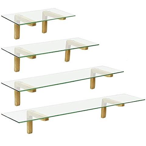 Hartleys Oak Bracket Glass Wall Shelf - Choice of Size