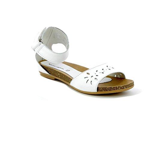 Marina seval by scarpe&scarpe - sandali bassi con cinturino alla caviglia, in pelle - 39,0, bianco