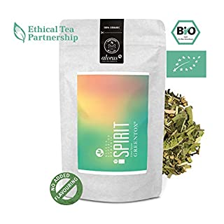 alveus® Greentox® Spirit BIO: Ingredients: Lemongrass*, White Tea Pai Mu Tan*, Green Tea China Chun Mee*, Verbena*, Balm*, liquorice Root*, Lime Blossoms*, Verbena*. *Certified Organic