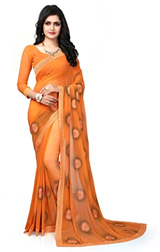 Fab Valley Orange Color Georgette Fabric Embroidery Work Designer Saree For Women