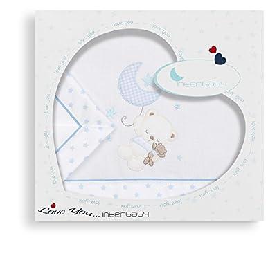 Sabanas 100% Algodón MINICUNA 50X80 - Oso Estrella AZUL (bajera+encimera+funda almohada)