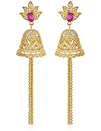 de2a982d1 Fasherati CZ And Pink Stone Lotus Bell Earrings With Chain Tassels For Women