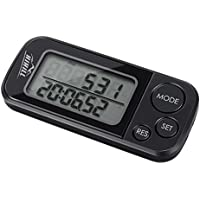 HiHiLL Pedometer 3D, with Step Counter, Distance, Calories Consumption, Exercise Timer and 30 Days Workout Memory, Mini Pocket Walking Pedometer with Clip (OD-P1, Black)