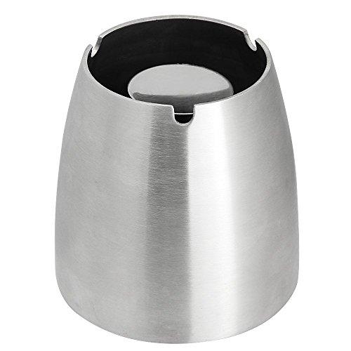 Zilong Cenicero de mesa versátil, antiviento y antideslizante de acero inoxidable, para interiores y exteriores