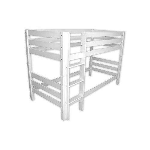Betten-ABC Kinder Etagenbett / Hochbett, inklusive Rollroste, Größe: 90 x 200  cm, Massivholz Buche, Farbe: weiß, lackiert