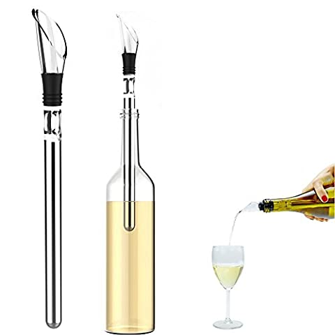FosFun WN-032 wine cooler fitted kitchen with aerator, cooler and spout - Stylish stainless steel stick - the perfect gift for men and women