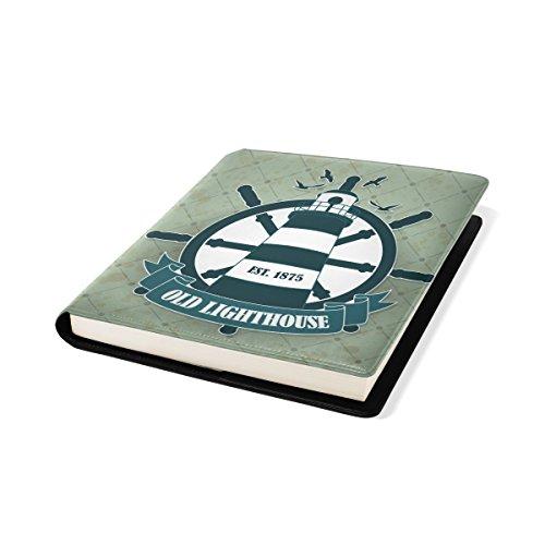 Coosun Vintage Label mit nautischen Thema Buch Sox dehnbar Buchcover, passt die meisten Hardcover-Lehrbücher bis zu 9 x 11. Klebstoff-frei, Pu-Leder Schulbuch-Schutz