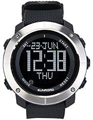 2017Sunroad nueva llegada de los hombres del deporte del reloj Digital horas para Running Natación Resistente al agua 50m cronómetro temporizador fr1001b, color negro