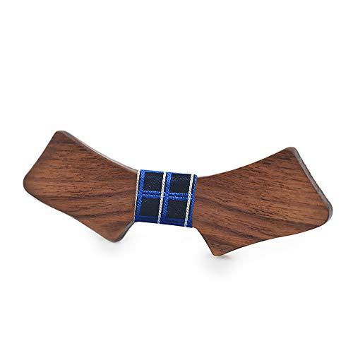 Easy Go Shopping Herren Holz Fliege Platz Weihnachtsgeschenk Geburtstag Taschentuch Klassische handgemachte Hochzeit Schmetterling Kostüm Krawatte (Farbe : Blau, Größe : 5 * 9.5cm)