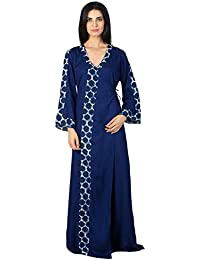 37b519df33 Patrorna Blended Women s Angrakha Wrap Night Night Gown Dress in Royal Blue  (Size S-