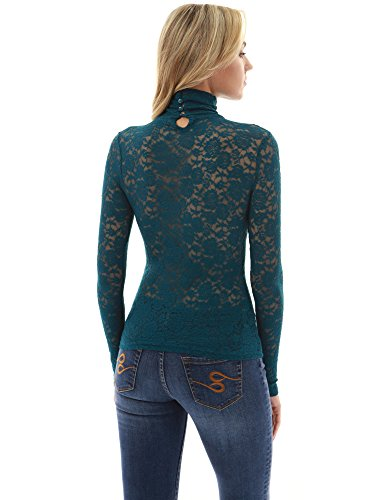 3bf55204 PattyBoutik Women's Polo Neck Sheer Lace Blouse (Teal 12) - Buy ...