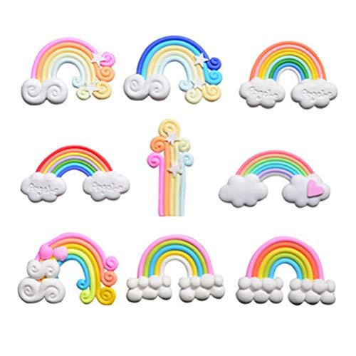 TOYMYTOY 9 Piezas de Belleza en Espiral Rainbow Candy Polymer Clay Cabochons Flatback para la decoración del teléfono DIY (Cada 3 de White Cloud Rainbow, Pink White, Pink Blue)