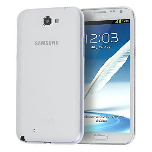 doupi UltraSlim Custodia per Samsung Galaxy Note 2, Satinato fine Piuma Facile Mat Semi Trasparente Cover, Bianco