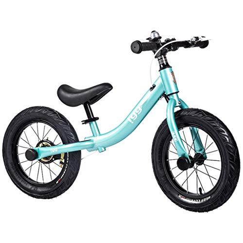 Bicicleta sin pedales Bici Balance Bike 7 8 años - Bicicleta de Entrenamiento Big Kid No-Pedal con Freno de Mano neumático, Azul, 36 cm (14 Pulgadas)