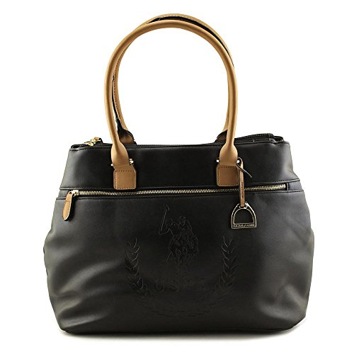US Polo Assn Billy Triple Entry Tote Donna Ecopelle Black
