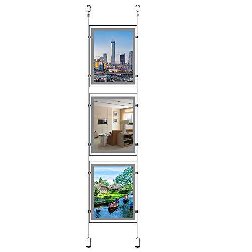A3(Hochformat) Immobilien Büro Zeichen für Fenster zum Aufhängen Acryl Poster Rahmen Kristall LED Light Box Schilder Display Halter (3St eine Spalte) -