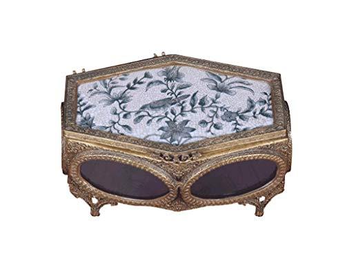 schmuckschatulle European Home Weichkeramik Intarsien Kupfer Schmuckschatulle Ornamente Wohnzimmer Modell Zimmer Schmuck Aufbewahrungsbox Handwerk (Farbe: B) -