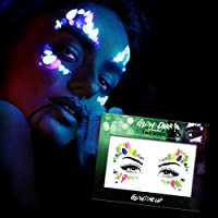 Glow in the Dark Face Jewels Stickers - Halloween temporary tattoo face gems - Luminous glow Face Gems - great with fake blood, glowsticks, glow in the dark face paint, uv face paint