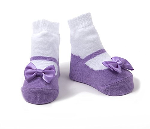 Baby Emporio - Baby Anti-Rutsch-Socken im Mary Jane-Design für Mädchen - weiche Baumwolle - mit Geschenkbeutel - 0-9Monate - Festlich Lavendel (9 Monaten Lavendel)