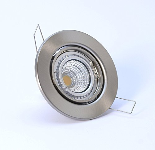 10er-Set LED Einbaustrahler 5 Watt, sehr helle und breite Ausleuchtung 120 Grad Abstrahlwinkel, DECORA 230V, Farbe: Edelstahl gebürstet - schwenkbar (Decora Led)