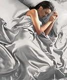 6 tlg. Silver-Satin Luxus Bettwäsche (Spannbetttuch+Kissenbezüge+Bettbezug)