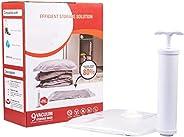 Vacuum Sealer Bags with Hand Pump, 9 Pack (3 x Medium, 3 x Large, 3 x Jumbo), Space Saver Compression Bags, Va