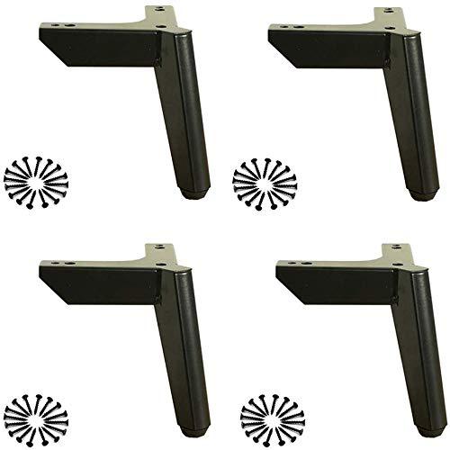 FCXBQ Möbelbeine X4 Nicht verstellbare Möbelbeine/Sofabeine/Regalbeine/Stützbeine aus Metall/Schwarz/Silber Zuladung 500 kg hoch 12/15 cm