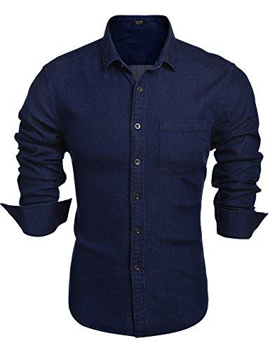 Coofandy Herren Jeanshemd Regular Fit 4 Farben Figurbetont Denim Freizeit Langarm Jeanshemden mit Tasche Dark Blue