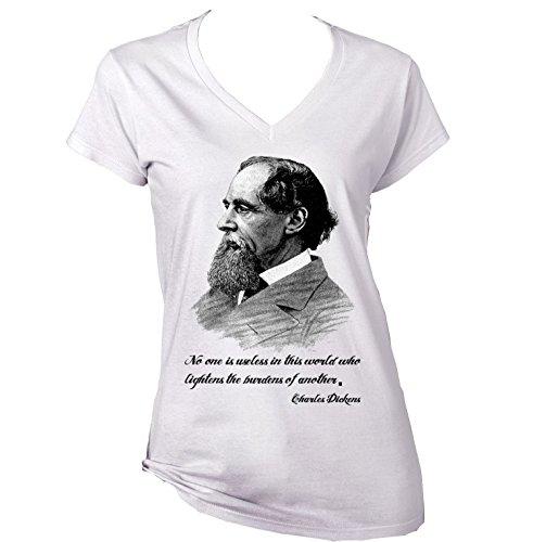CHARLES DICKENS 1 - New Cotton Graphic White T-Shirt XXLarge