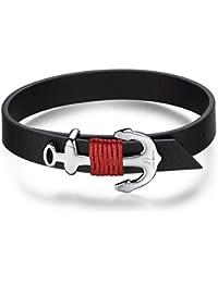 Italienisches Herren Leder Armband in schwarz, mit Anker u. Seil. DBA868. Wasser Sport, Mode, Schmuck. Mit Geschenk Box